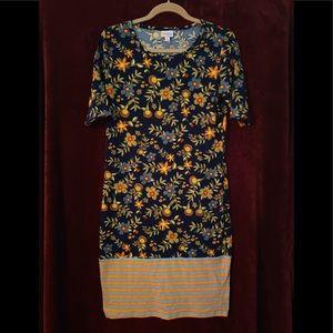 Floral Dipped Stripe Pencil Dress